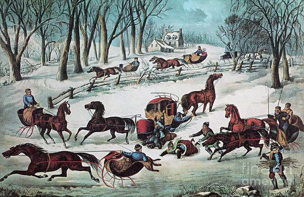 History Print featuring the photograph American Winter 1870 by Photo Researchers