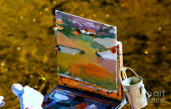 Painting Art Print featuring the photograph Artist At Work by Tap On Photo