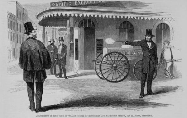 History Art Print featuring the photograph Assassination Of James King, Newspaper by Everett
