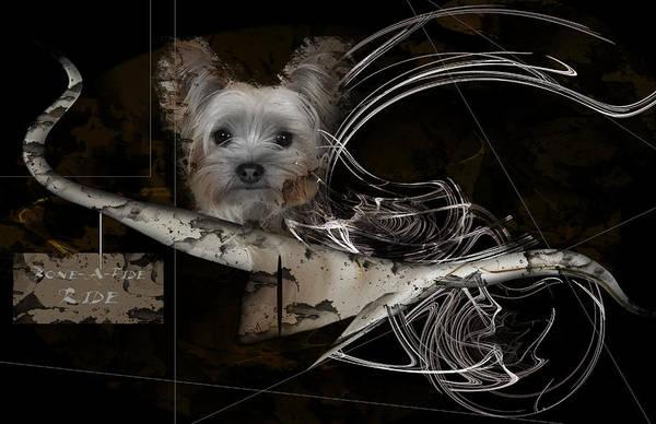 Dogs Art Print featuring the digital art Bone-a-fide-ride by Shania Calvert