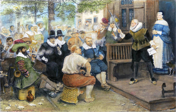 17th Century Art Print featuring the painting Colonial Smoking Protest by Granger