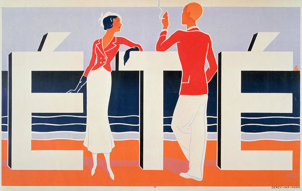 Fashion Plate; Summer; Twenties; Stylish; Chic; Smoking; Flirting;graphic; Beach; Sea Art Print featuring the painting Ete by ME Caddy