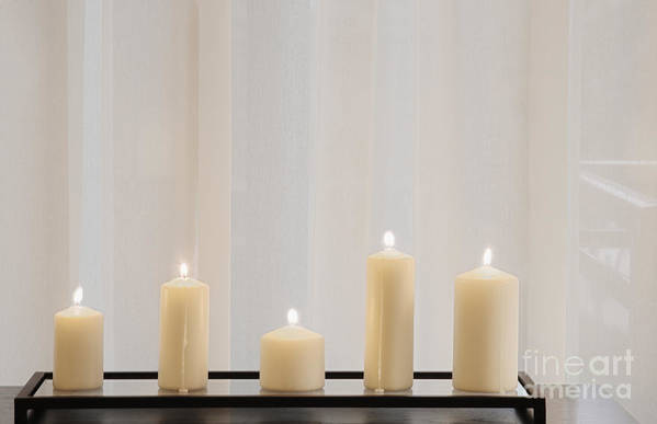 5 Art Print featuring the photograph Five White Lit Candles by Andersen Ross
