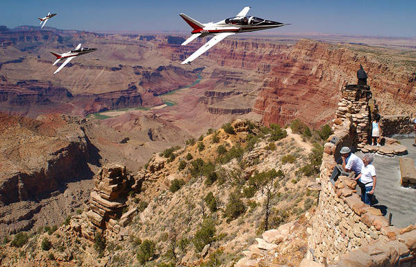 Grand Canyon Fly By Art Print featuring the photograph Grand Canyon Fly By-1 by Larry Mulvehill