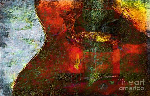 Guitar Art Print featuring the digital art Guitar ..abstract by Elaine Manley
