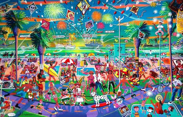 Venice Beach Art Print featuring the painting Independence Day Venice Style by Frank Strasser