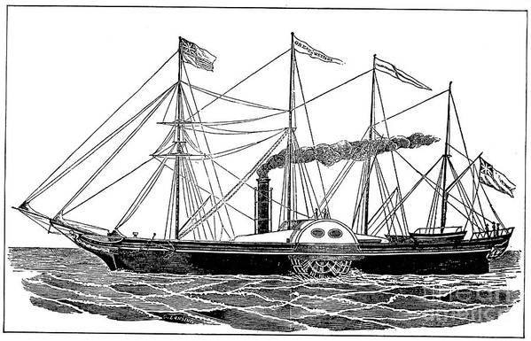 1838 Art Print featuring the photograph Merchant Steamship, 1838 by Granger
