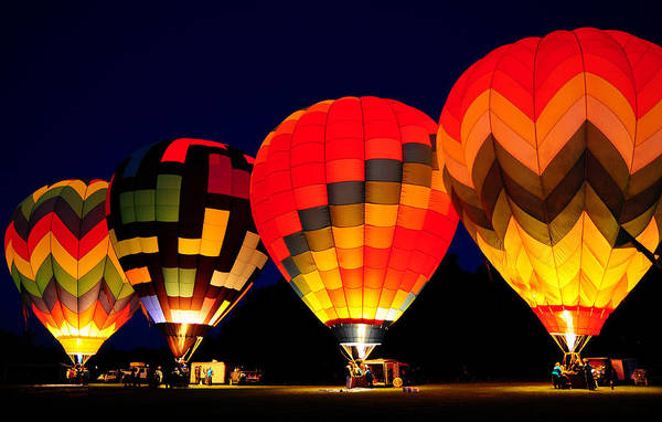 Hot Air Balloons Art Print featuring the photograph Morning Glow by Michael Ayers