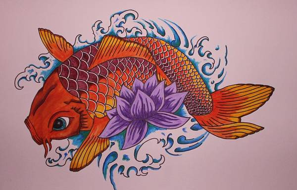 Koi Fish Art Print featuring the painting New Beginnings by Kat Starr