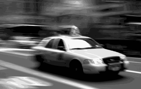 Taxi Art Print featuring the photograph Nyc Taxi Bw16 by Scott Kelley