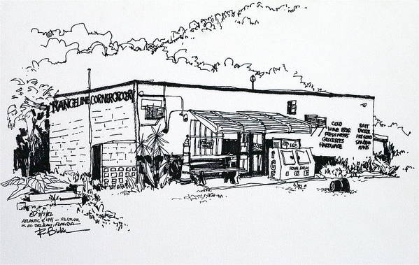 Old Grocery Store - West Of Delray Beach Florida. Art Print featuring the drawing Old Grocery Store - W. Delray Beach Florida by Robert Birkenes