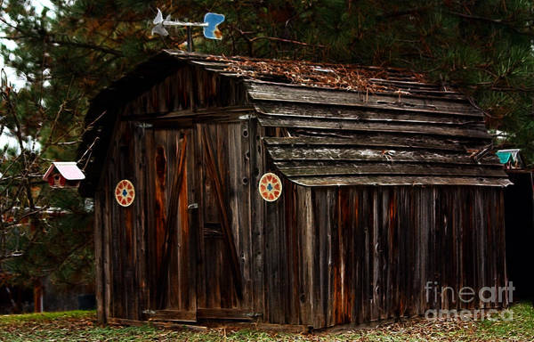 Shed Art Print featuring the photograph Old Shed Oakhurst by Marjorie Imbeau