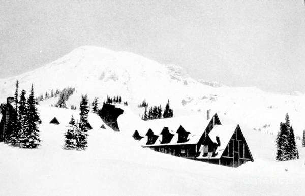 Science Art Print featuring the photograph Paradise Inn Buried In Snow, 1917 by Science Source
