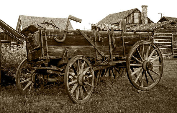 Wagon Print featuring the photograph Pioneer Freight Wagon - Nevada City Ghost Town by Daniel Hagerman