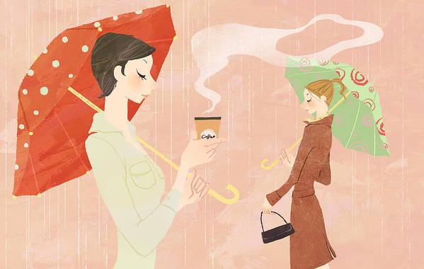 Adult Art Print featuring the digital art Portrait Of Young Woman In The Rain Holding Umbrella And A Takeaway Coffee by Eastnine Inc.