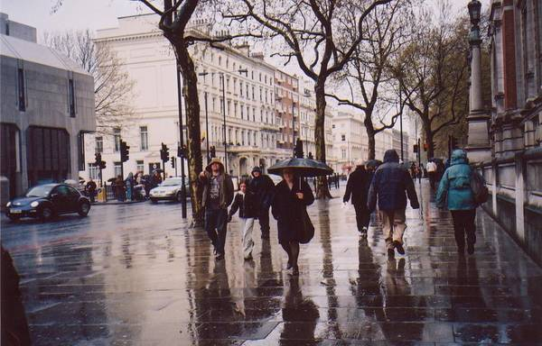 Cityscape. Cromwell Road Art Print featuring the photograph Rainy Sunday On Cromwell Road In London England by Katherine Shemeld