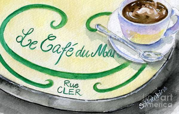 Cafe Du Marche Art Print featuring the painting Rue Cler Cafe by Sheryl Heatherly Hawkins