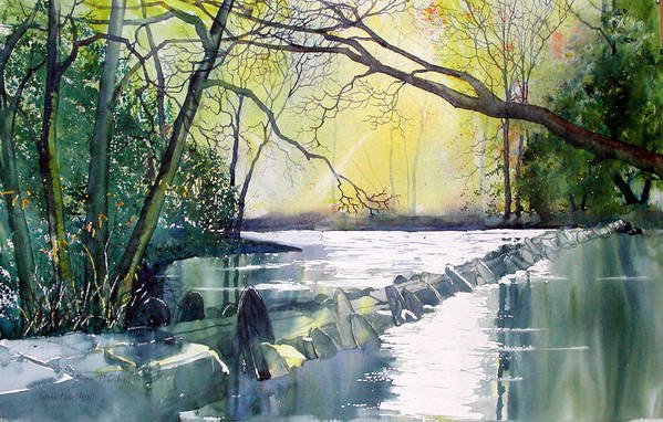 Landscape Art Print featuring the painting Tarr Steps Near Exmoor by Glenn Marshall