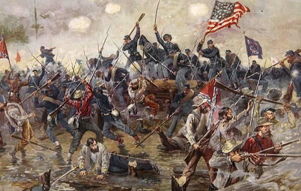The Battle Of Spotsylvania Art Print featuring the painting The Battle Of Spotsylvania by Henry Alexander Ogden