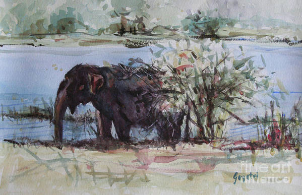 Elephant Art Print featuring the painting The Elelphant by Gayatri Vasudevan