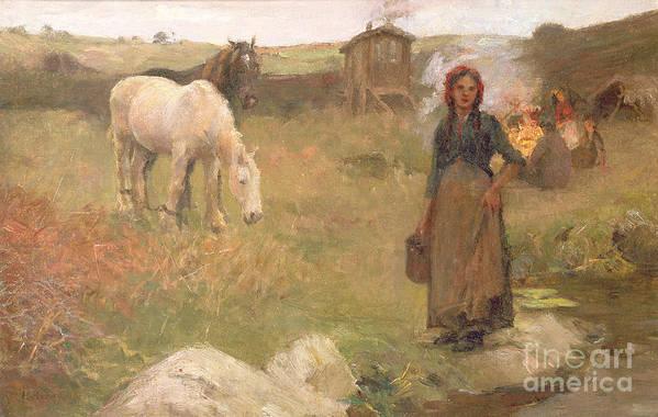 Gypsies; Encampment; Ponies; Pony; Caravan; Girl; Female; Romany; Romanies; Nomadic; Itinerant; Gipsy; Edwardian; Newlyn School; Community Print featuring the painting The Gypsy Camp by Harold Harvey