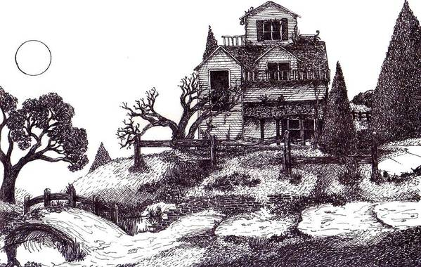 Surrealism Art Print featuring the drawing The Haunted House by Joella Reeder