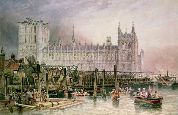 Construction Begun Print featuring the painting The Houses Of Parliament In Course Of Erection by John Wilson Carmichael
