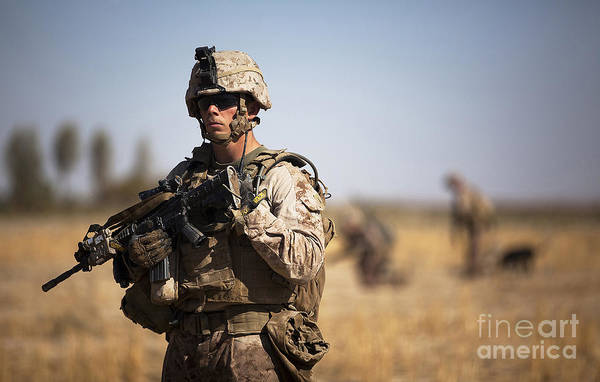 Afghanistan Art Print featuring the photograph U.s. Marine During A Security Patrol by Stocktrek Images