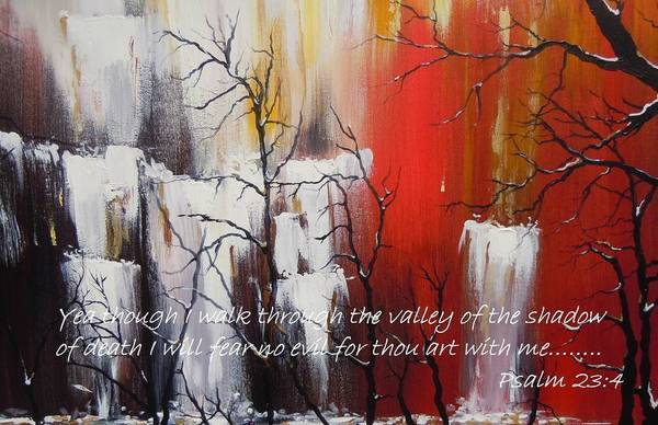 Psalm 23:4 Poster Art Print featuring the painting Valley Of Shadows Poster by Dan Whittemore
