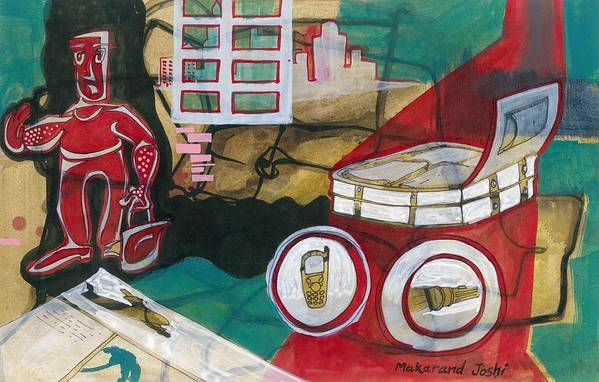 Makarand Joshi Art Print featuring the painting /ready For Journey////// by Makarand Joshi