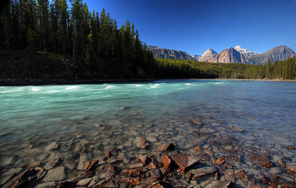 Maligne River Art Print featuring the digital art Athabasca River In Jasper National Park by Mark Duffy