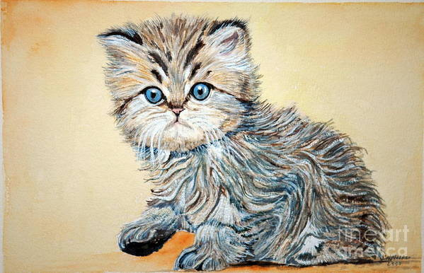 Cat Art Print featuring the painting Grumpy by John W Walker