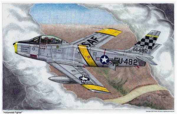 Aviation Art Print featuring the drawing Hollywood Fighter by Trenton Hill