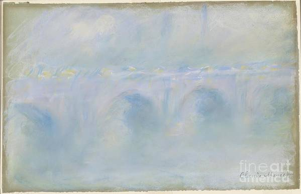 Art Print featuring the drawing Le Pont De Waterloo by Claude Monet