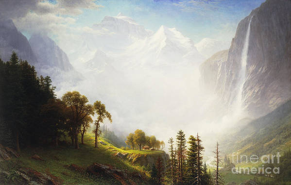 American Artist; American Painting; Artist American; Cascade; Cliff; Country; Countryside; Day; Daytime; Drama; Dramatic; Elevated; Elevated View; Falls; Fog; Foggy; Forest; Grandeur; Hudson River School; Intense; Mist; Misty; Mountain; Mountainous; Nature; Natural Space; Nineteenth Century; No People; No Person; Oil On Canvas; Outdoor; Outdoors; Outside; Painting; Romantic Art; Romantic Era; Romanticism; Rural; Scene; Scenery; Scenic; Valley; Water; Waterfall; Weather; Wood; Wooded; Woodland Art Print featuring the painting Majesty Of The Mountains by Albert Bierstadt