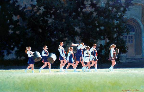 Band Art Print featuring the painting Pep Squad by Kevin Lawrence Leveque