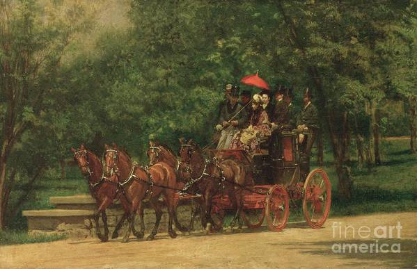 The Print featuring the painting The Fairman Rogers Coach And Four by Thomas Cowperthwait Eakins
