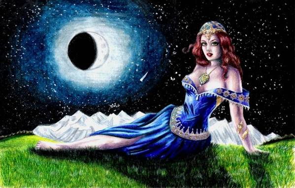 Witch Art Print featuring the drawing The Moon Witch by Scarlett Royal