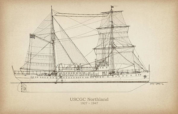 Coast Guard Art Print featuring the drawing U.s. Coast Guard Cutter Northland by Jose Elias - Sofia Pereira