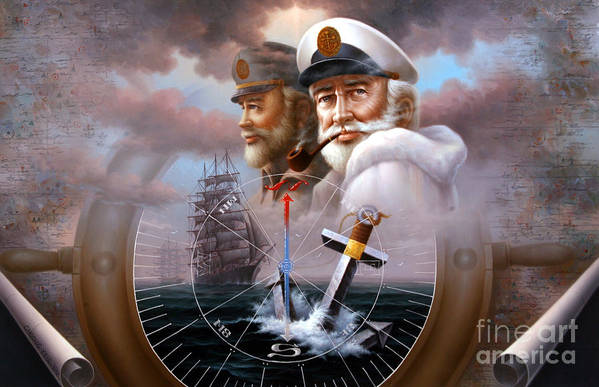 sea Captain Art Print featuring the painting News Two Map Captain Or Two Sea Captain by Yoo Choong Yeul