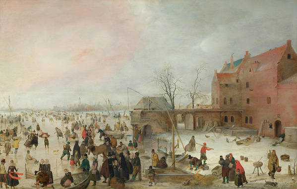 Scenery Art Print featuring the painting A Scene On The Ice Near A Town by Hendrick Avercamp