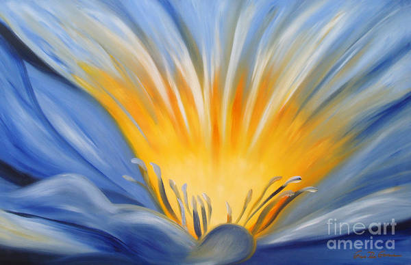 Flowers Art Print featuring the painting From The Heart Of A Flower Blue by Gina De Gorna