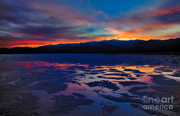 Inhospitable Art Print featuring the photograph A Death Valley Sunset In The Badwater Basin by Kim Michaels