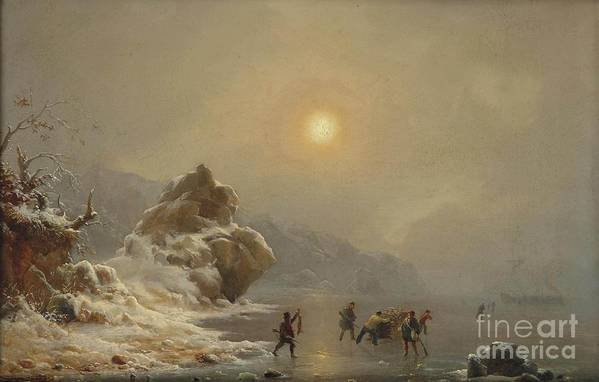 Andreas Achenbach - A Winter Landscape With Hunters On The Ice Art Print featuring the painting A Winter Landscape With Hunters On The Ice by Celestial Images