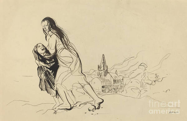 Art Print featuring the drawing After Douai by Jean-louis Forain