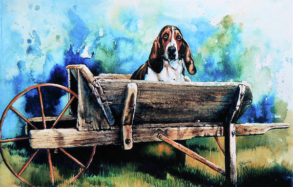 Dog In Wheelbarrow Art Print featuring the painting Ah Pooey by Hanne Lore Koehler