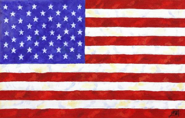 American Flag Art Print featuring the painting American Flag by Linda Mears