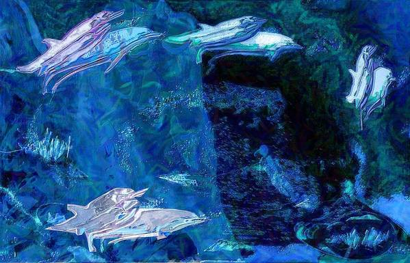 Dolphins Art Print featuring the digital art Amidst Dolphins by Mushtaq Bhat