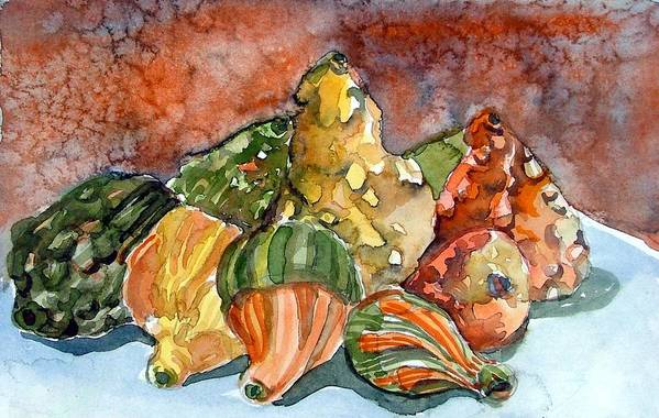Gourds Art Print featuring the painting Autumn Gourds by Mindy Newman