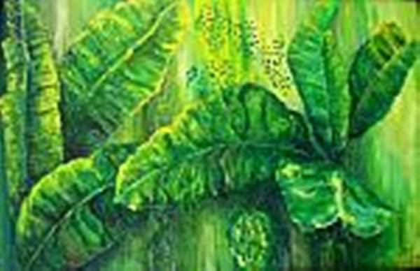 Art Print featuring the painting Beautiful Banana Leaves by Carol P Kingsley